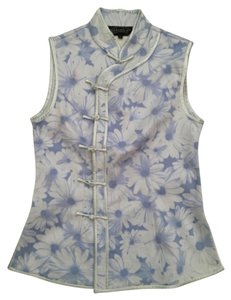 Mandarin collar Chinese traditional top Button Down Shirt Blue and white