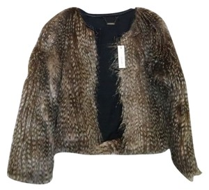 Capulet Faux Feather Cropped Beige Brown Jacket