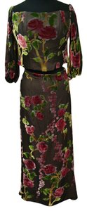 Joanna Mastrianno Floral Silk Evening Gown Dress
