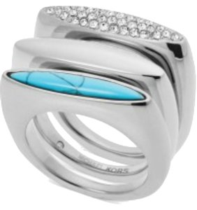 Michael Kors Nwt Michael Kors Silver Tone, Pave Stones, Turquoise Ring Size 7
