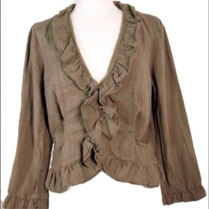 Anthropologie Fei Linen Ruffles Brown Jacket