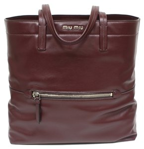Miu Miu Prada Leather Shopping Tote in Burgundy Maroon