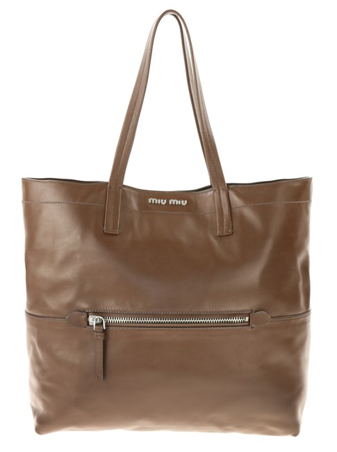Item - Vertical Shopping Brown Leather Tote