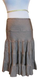 Vince 100% Silk Tiered Skirt Taupe