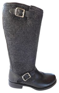 Frye Leather Wool Riding Boot Tall Black Boots