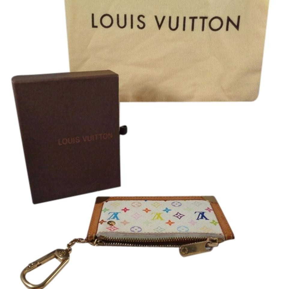 louis vuitton cles key chain key coin cards key car wallet white multicolor clutch clutches on. Black Bedroom Furniture Sets. Home Design Ideas