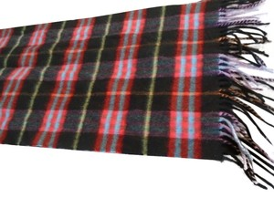 Burberry SO SOFT!! Authentic BURBERRY london Black Multi-color Check Fringe Cashmere Scarf