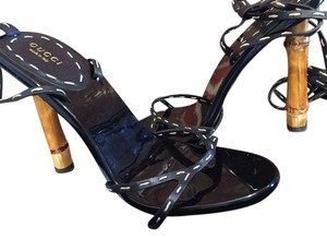 Gucci Bamboo Leather Patent Leather Black Sandals