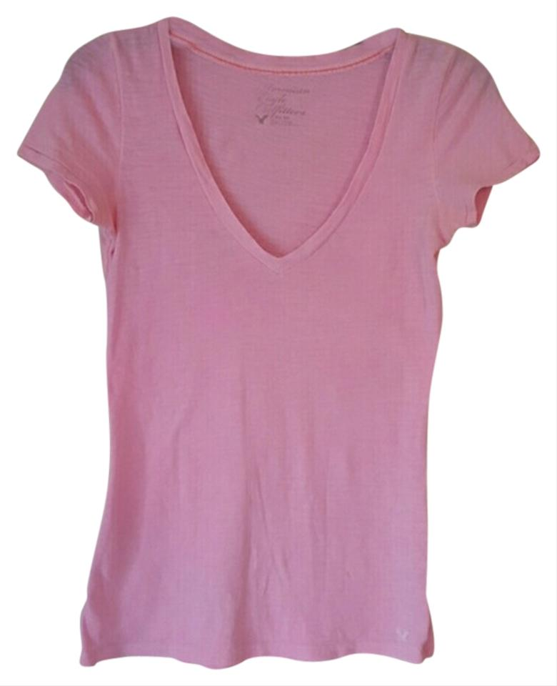 American Eagle Outfitters Pink V Neck Tee Shirt Size 2 Xs