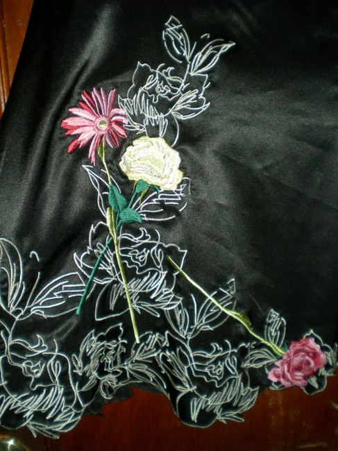 Paris Silk A-line Embroidered Rose Flower Skirt