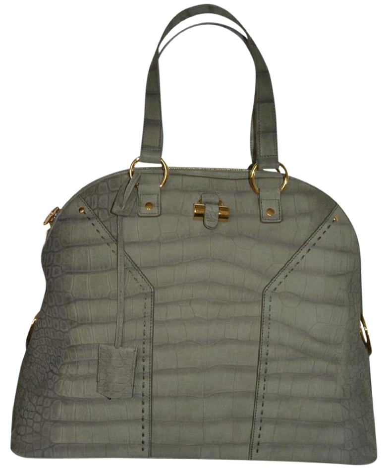Muse Purse Oversized Grey Laurent Saint Leather Suede Tote Ysl Green Print Croc qY5BwYgnxS