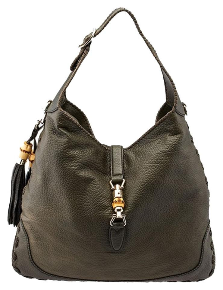 040cd076624 Gucci Jackie New 218491 Military Green Textured Leather Shoulder Bag ...