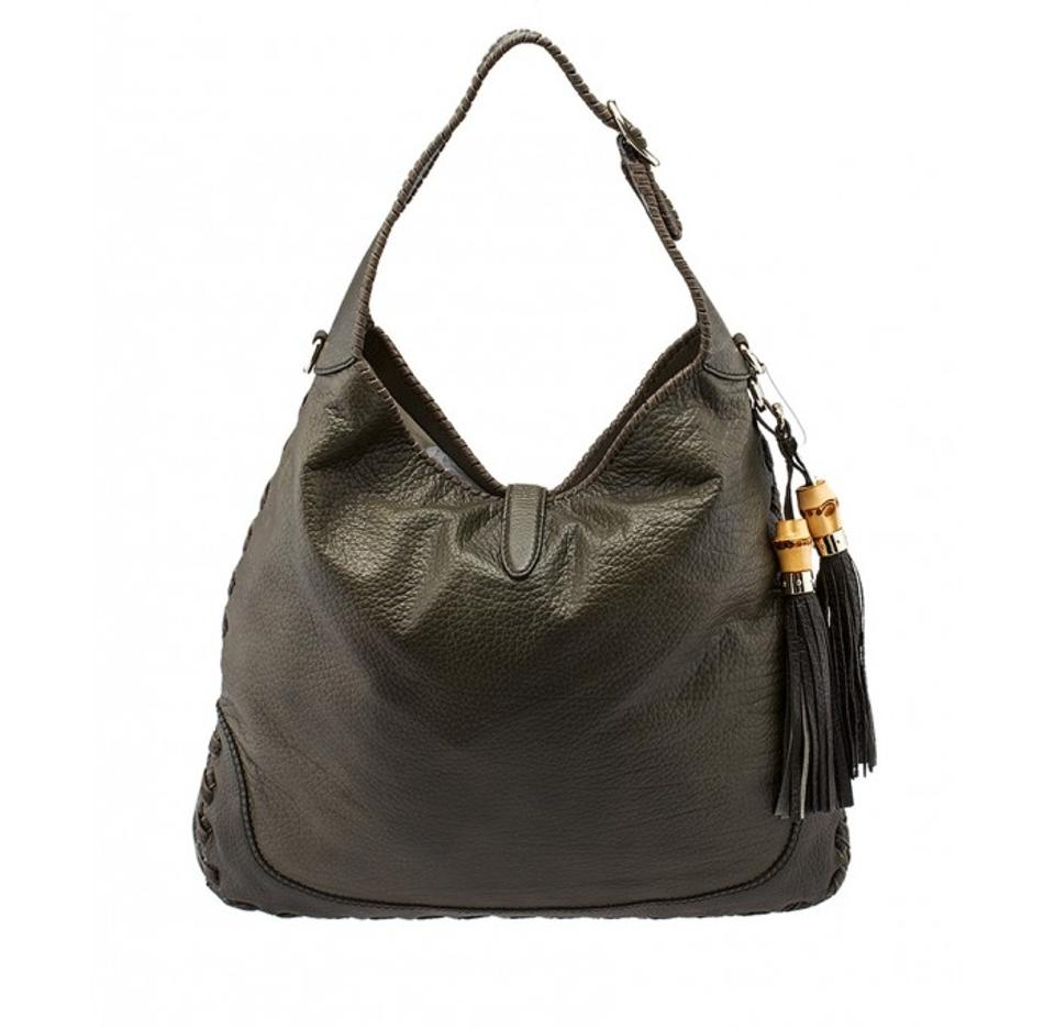 dce15e6840c2 Gucci Jackie New 218491 Military Green Textured Leather Shoulder Bag ...