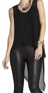 BCBGMAXAZRIA Asymmetrical Scoopneck Silk Top Black