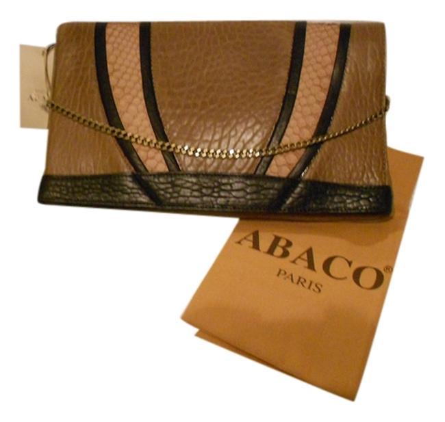 Item - Bellagio with Python Trim Convertible Brown Lambskin Leather Clutch