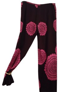 Trina Turk Flare Pants Chocolate brown with pink.