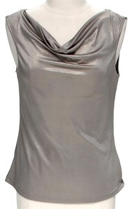 Tahari Metallic Cowl Neck Top Gold