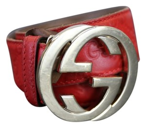 Gucci * Gucci Guccismia Red Leather Interlocking G Belt 85cm/34