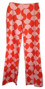 Trina Turk Flare Pants Orange with white printed pattern