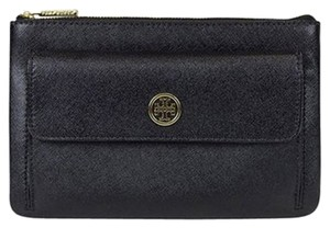 Tory Burch Robinson Zip Pouch Pouch Robinson Pouch Robinson Pouch Saffiano Leather Black Clutch