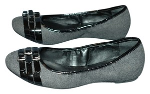 Franco Sarto Buckle Flannel Felt Leather Gray and Black Flats