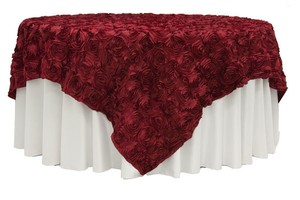 Red Satine Rosette Overlay Topper Square 85x85 Tablecloth