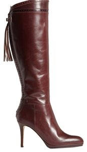 L.K. Bennett Leather Knee High & High Heel Oxblood Boots