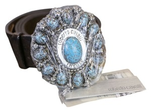 Roberto Cavalli * Brown Leather Turquoise Embellished Belt - Size Large