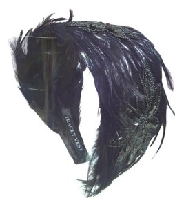 Black Hackle feather wide headband with black sequin/beaded applique