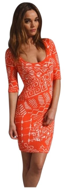 """Item - Coral New Tribal Knit 'casey"""" Mid-length Short Casual Dress Size 4 (S)"""