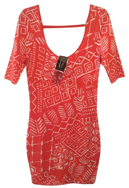 """Torn by Ronny Kobo Coral New Tribal Knit 'casey"""" Mid-length Short Casual Dress Size 4 (S) Torn by Ronny Kobo Coral New Tribal Knit 'casey"""" Mid-length Short Casual Dress Size 4 (S) Image 3"""