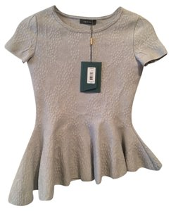 Zac Posen Peplum Women's Shirts Gray Grey Peplum Bandage Fitted New Top Feather Grey