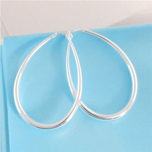 Sterling Silver Plates Hoop Earrings Free Shipping