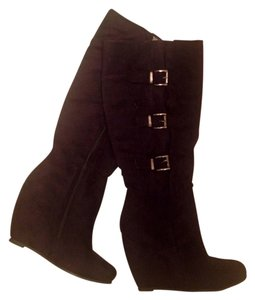 Two Lips Heels Boots Brown Wedges
