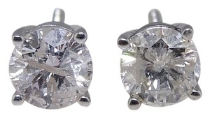 14k White Gold Round Cut Solitaire Diamond Stud Earring