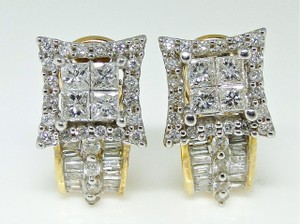Other Ladies 14k Yellow White Diamond Hoop Huggie Dangle Earrings 15 Mm