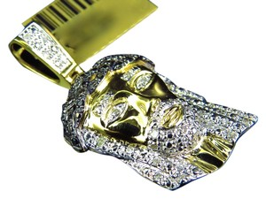 Jewelry Unlimited 10K Yellow Gold Authentic Natural Diamond Jesus Piece Pendant Charm 1.5