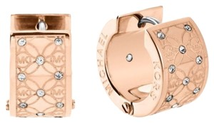 Michael Kors Set Rose-Tone Disk Necklace & Monogram Huggie Earrings