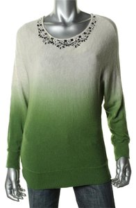 INC International Concepts New Beaded Top Cream Green