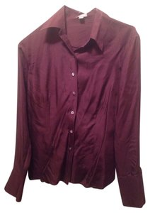 Ann Taylor Button Down Shirt Burgundy