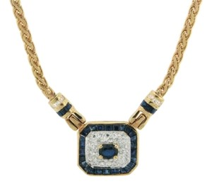 BELOW WHOLESALE - 14K Gold diamond and sapphire necklace