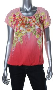 Karen Scott Beaded Summer Coral Top Coral/Red/Peach