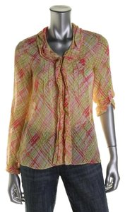 Jones New York Color Longsleeve Top Multi - Pink, Yellow, Peach