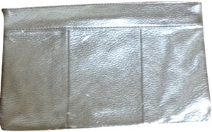 J.Crew Leather Metallic Silver Clutch