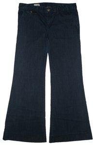 Gap Front Slant Pockets Trouser/Wide Leg Jeans-Dark Rinse