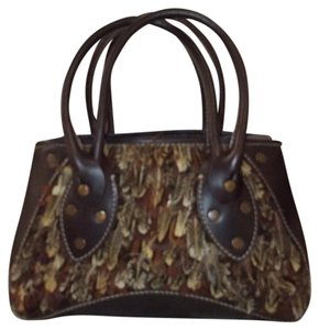 Ruehl No.925 Suede Pheasant Feathers Tote Leather Satchel in Brown