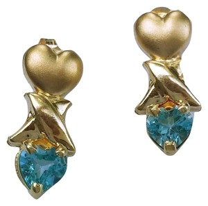 Other 10k Yellow Gold Drop Earrings with Blue Topaz Stone, new without tags