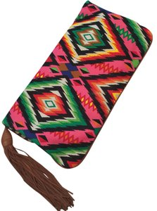 Twelfth St. by Cynthia Vincent Outlaw Leather Studded Tribal multi color Clutch
