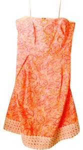 Lilly Pulitzer short dress orange and pink Strapless Sundress on Tradesy