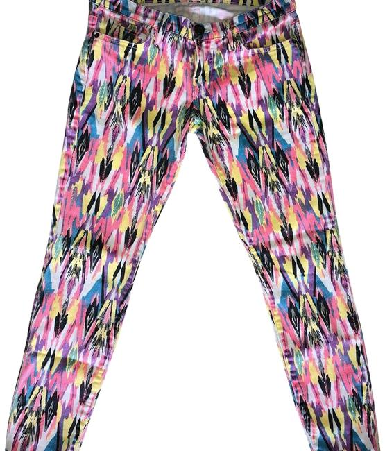 Item - Pink Light Wash Multi Colored Abstract Skinny Jeans Size 29 (6, M)